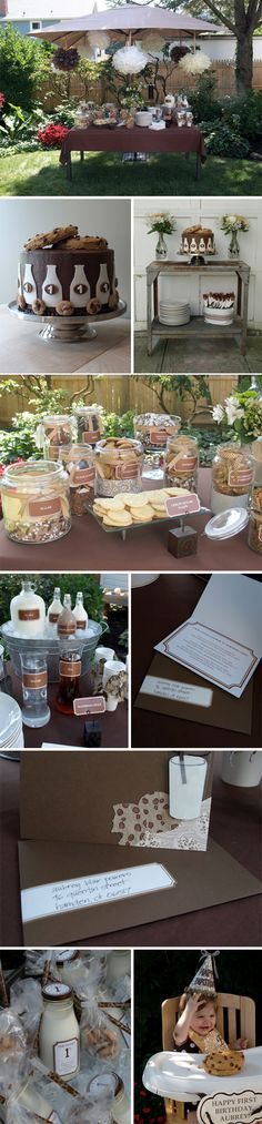 Cookies and Milk Party.I think I found Hayden's birthday party theme. Deco Buffet, Deco Table, First Birthday Parties, First Birthdays, Birthday Ideas, Milk Cookies, Baby Shower, Party Entertainment, Decoration Table