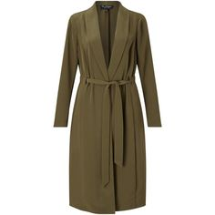 Miss Selfridge Channel Duster Coat, Khaki ($60) ❤ liked on Polyvore featuring outerwear, coats, collar coat, long lightweight coat, miss selfridge coat, leather-sleeve coats and long duster coat