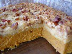 PUMPKIN PIE CAKE (d)  2 - 15 oz. cans pumpkin puree  1 - 12 fluid oz. can evaporated milk  3 eggs  1 cup white sugar  1/2 tsp. salt  4 teaspoons pumpkin pie spice  1 -(18.25 oz.) package yellow or spice cake mix  3/4 cup butter (see note)  1 cup chopped walnuts or pecans