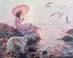 "konstantin razumov paintings | RAZUMOV Konstantin,""Borzoi looking at seagulls"",John Nicholson ..."