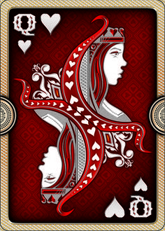 ORNATE Deck - Playing Cards - The Queen design looks like one of a kind. A visual masterpiece. The shadows around the inner border of the design makes it look very three dimensional. As well as this, the queen design looks realistic and the mirrored design of the card is excellent.