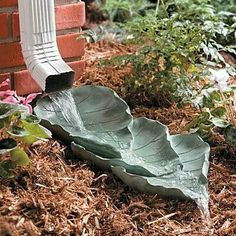 concrete leaves used as decorative splashblock. So much cuter than the traditional square splash blocks. Outdoor Projects, Garden Projects, Garden Ideas, Backyard Ideas, Sloped Backyard, Easy Garden, Pool Ideas, Outdoor Ideas, Diy Projects