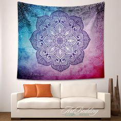 Bohemian Tapestry, Boho mandala wall tapestry, Hippie mandala tapestry wall hanging, Bohemian ethnic sacred decor, Lotus mandala tapestry by ArtBedding on Etsy