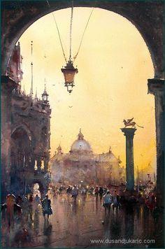 Dusan Djukaric Sunset in Venice, watercolor, 37x55 cm