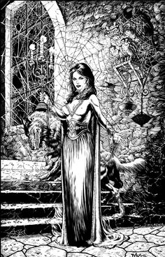 a most challenging picture Gothic Nights trademark David Barbour and Tim Vigil Print Available! Entrance - Print Available Fantasy Kunst, Dark Fantasy Art, Fantasy Artwork, Dark Art, Arte Horror, Horror Art, Art And Illustration, Black And White Drawing, White Art
