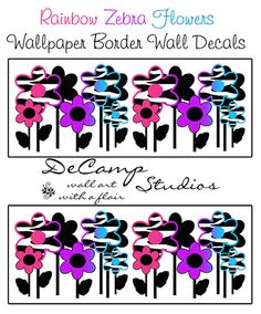 Zebra Flowers Wallpaper Wall Art Border Decals in four different color choices; rainbow, purple, hot pink, and turquoise blue. #decampstudios