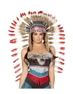 Indian Headdress with Red Tips – Charmed Costumes