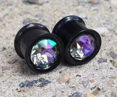 Black Special Effect Swarovski Crystal Blackline Titanium Over 316L Surgical SteelTunnels/Plugs, 00G, 0G, Double Flare, Screw-Fit/Threaded by SparkleAndSteel on Etsy