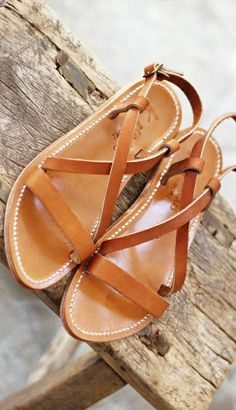 Cognac Leather Sandals // buy here and here