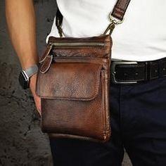 Genuine Leather Mens Waist Bag Hip Pack Belt Bag Fanny Pack Bumbag Chest Bag Sling Bag for Men