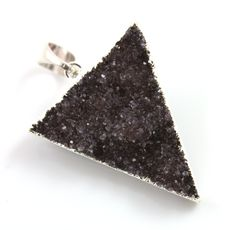 Dazzling Druzy Triangle Pendant in Stunning Earth Tones, Silver Plated, 30x34mm, A+ Gorgeous Quality, Electroplated Edge (SS-DZY/TRI/129) by Beadspoint on Etsy