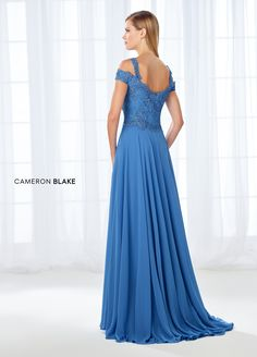 Cameron Blake 118683 - Simultaneously trendy and classic, this cold shoulder chiffon A-line gown features a scalloped lace sweetheart bodice adorned with sparkling heat set stones, and a full chiffon skirt with a sweep train. A matching shawl is included. Full Length Gowns, Tea Length Dresses, Cameron Blake, Elegant Ball Gowns, Womens Dress Suits, Chiffon Skirt, Lace Chiffon, A Line Gown, Prom Dresses