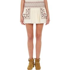 Isabel Marant Étoile Vera Embroidered Mini Skirt ($290) ❤ liked on Polyvore featuring skirts, mini skirts, white, white mini skirt, pocket skirt, embroidered skirt, short mini skirts and gauze skirt