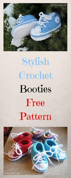 Stylish Crochet Baby Booties: Free Pattern - 101 #Crochet Free Patterns