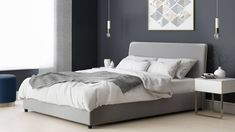 456417ab00c2 Turin Feather Grey Velvet Double Bed with Storage
