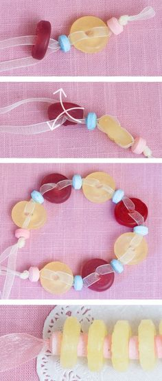 Cute Idea for a a little girl's Tea Party | How Do It Make your own candy bracelet & candy necklace