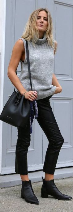 Fashion Me Now Grey Sleeveless Turtleneck Fall Inspo