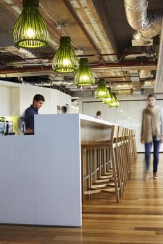 The lights make this, otherwise safe, breakout cool - Aecom Sydney Workplace in New South Wales Australia by BVN