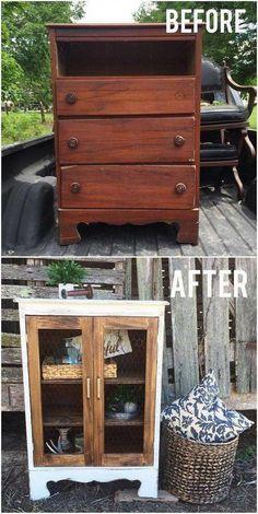 DIY Farmhouse Display Cabinet From Old Chest of Drawers. Turn this little chest of drawers into the cutest little farmhouse display cabinet with a bit of woodworking skills. makeover diy dresser Come trasformare dei vecchi mobili, in oggetti da design! Refurbished Furniture, Repurposed Furniture, Painted Furniture, Furniture Decor, Furniture Design, Furniture Plans, Garden Furniture, Diy House Furniture, Furniture Stores