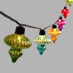 Multicolor Mercury Glass Finial 10 Bulb String Lights - v1