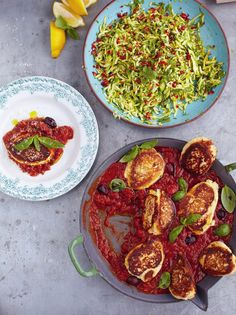 Ricotta fritters with tomato sauce & courgette salad