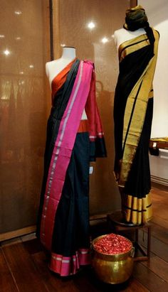 Black Saree with Pink border Black Saree with golden border Ethnic Sarees, Indian Sarees, Indian Attire, Indian Ethnic Wear, India Fashion, Asian Fashion, Beautiful Saree, Beautiful Outfits, Indian Dresses