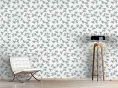 Design #Tapete Blauer Blumenregen