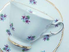 "Royal Stafford Vintage Fine Bone China Tea Cup and Saucer ""Sweet Violets"" Purple Flowers Gold Trim"