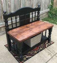 20 Wooden DIY Twin Headboard Bench Designs For Outdoor Refurbished Furniture, Repurposed Furniture, Furniture Makeover, Painted Furniture, Furniture Projects, Diy Furniture, Automotive Furniture, Furniture Design, Modern Furniture
