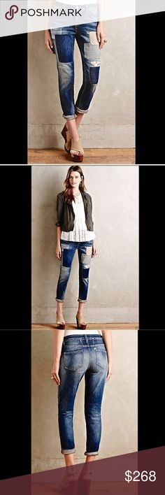 """Anthropologie Closed Jaker Patchwork Denim Jean 26 Anthropologie Closed Jaker Patchwork Denim Jeans fabulous denim made in Italy 5 pocket jeans with destroyed & distressed spots and light & dark patches up or down legs relaxed skinny fit with stretch            New Without Tags  *  Size: 26       retail $339.00  * there is a black line through tag to prevent store return  98% cotton * 2% spandex Made in Italy             measures:          32"""" around waist 36"""" around hips 9"""" rise 28"""" inseam…"""