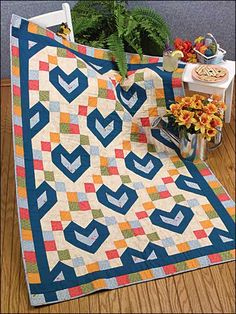 Free Baby Blocks With Love Quilt Pattern -- Download this free baby quilt pattern from FreePatterns.com.