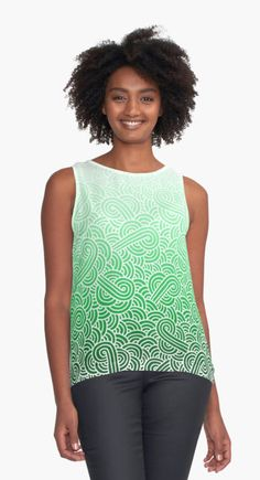 Ombre green and white swirls doodles | Contrast Tank