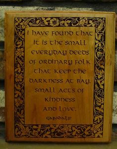 Gandalf, The Hobbit, Lord of the Rings Tolkien Quote, Laser Engraved Plaque $18