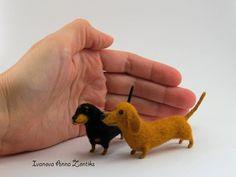 Felt dog felt toy needle felted animal miniature Dachshund