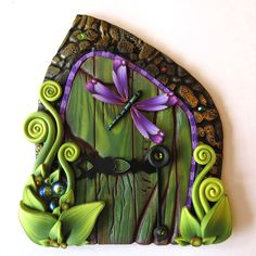 Purple Dragonfly Fairy Door Pixie Portal by Claybykim on Etsy