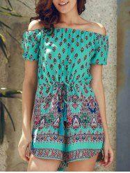 Stylish Floral Print Off The Shoulder Short Sleeve Romper For Women (GREEN,L)   Sammydress.com Mobile