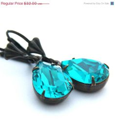 SALE Blue Zircon Earrings December Birthstone by JewelryByMagda, $25.60