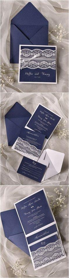 Navy blue Lace Wedding Invitations /4LOVEPolkaDots/