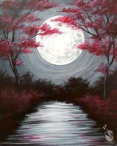 Simple Canvas Paintings, Easy Canvas Painting, Moon Painting, Diy Canvas Art, Moon Art, Acrylic Art, Tree Art, Fantasy Art, Artwork