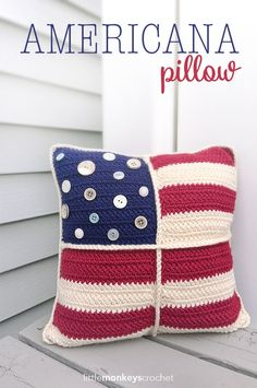 Americana Pillow~free #crochet pattern by Little Monkeys Crochet. #handmade