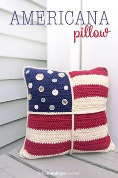 Americana Pillow~free #crochet pattern by Little Monkeys Crochet. #handmade