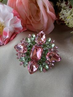 ~Vintage Juliana Style Pink and Green Rhinestone Brooch ~