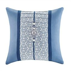 The Blue Porcelain Collection is inspired by Eastern art with its geometric prints and embroidery details. This microsuede decorative pillow features solid navy with geometric print with an OBI decorative detail.