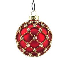 Items similar to Christmas Ornament, Glass, beaded bauble, red, golden and silver colours. on Etsy – christmasornaments. Christmas Tree Bulbs, Christmas Swags, Christmas Baubles, Holiday Ornaments, Beaded Christmas Decorations, Crochet Christmas Ornaments, Christmas Crafts, Beaded Ornament Covers, Beaded Ornaments