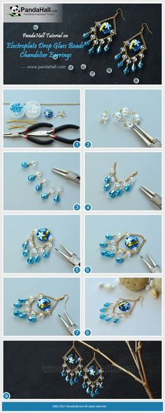 Electroplate Drop Glass Beads Chandelier Earrings The main materials of the earrings are blue starfish lampwork beads, crystal abacus glass beads, and blue drop electroplate glass beads.The way is to make these beads into a chandelier shape pendant with the help of pins and chains. #pandahall #diy #glassearring #chandelier #easyearrings #diyjewelry #electroplateglass #handmadeearrings