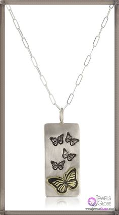 Heather B. Moore Fun Stamps Silver 14k Gold Pendant Necklace