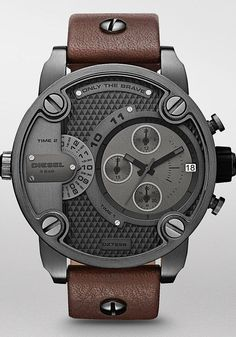 Diesel Watch, Chronograph Brown Leather Strap - Men's Watches - Jewelry & Watches - Macy's - nice watches for guys, female watches, festina watches *ad Fossil Watches, Men's Watches, Luxury Watches, Cool Watches, Fashion Watches, Casual Watches, Jewelry Watches, Elegant Watches, Pocket Watches