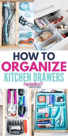 Organizing Kitchen Drawers - Organization Obsessed These kitchen drawer organization ideas will have your kitchen drawers organized in no time! Organizing your kitchen drawers is super easy with these drawer organizers and diy drawer organ Kitchen Utensil Organization, Junk Drawer Organizing, Diy Drawer Organizer, Drawer Dividers, Drawer Organisers, Kitchen Storage, Home Organization, Organizing Ideas, Diy Kitchen