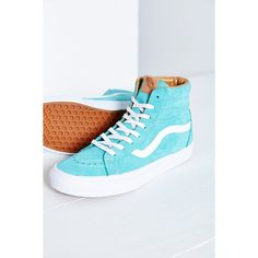 Vans California Sk8-Hi Buttersoft Reissue Sneaker ($90) ❤ liked on Polyvore featuring shoes, sneakers, turquoise, striped shoes, grip trainer, nubuck leather shoes, hi tops and vans footwear