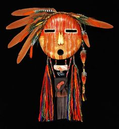 Black Eagle creates these visionary masks as a contemporary statement of his warrior art. Native American Masks, Native American Design, Navajo Art, Ceramic Mask, Decorative Gourds, Mask Painting, Painted Gourds, Southwest Art, Animal Masks